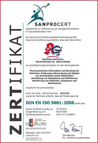 Zertifikat SANPROCERT
