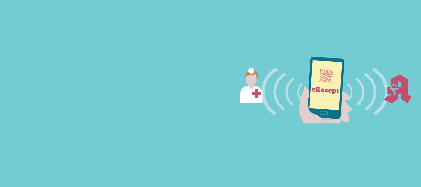Illustration zum E-Rezept. Ein Mobiltelefon verknüpft Apotheke und Arzt.