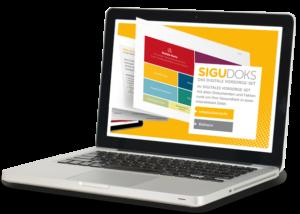 Ein Notebook auf dem das SIGUDOKS Vorsorge-Set zu sehen ist.